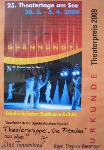 2009 Urkunde Theatertage am See - Friedrichshafen (D)