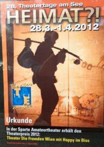 2012 Urkunde Theatertage am See - Friedrichshafen (D)